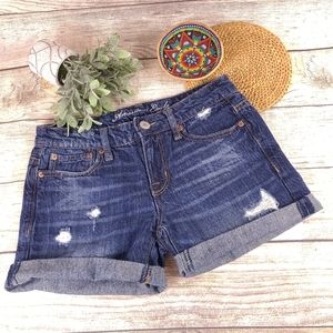 American Eagle Jean Shorts 0 Cotton Distressed